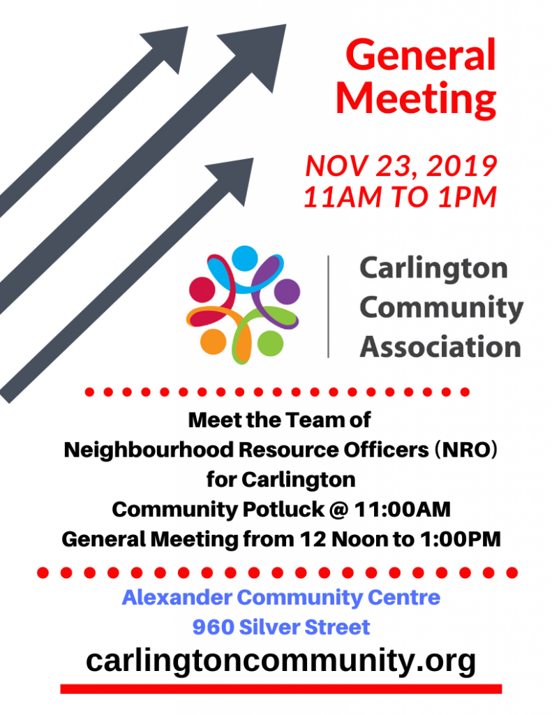 Second Annual Noon General Meeting and Community Potluck Nov 23, 2019 from 11AM to 1PM. This year meet the Neighbourhood Resource